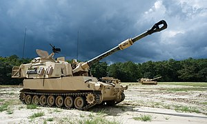 M109 howitzer - Image: Kings of battle keep the fire; 1 9 FA fires its last rounds 140910 A CW513 046