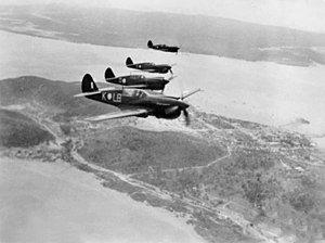 No. 84 Squadron Kittyhawks over Thursday Island in 1943