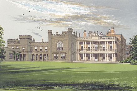 The southern facade of Knowsley Hall circa 1880 showing the Gothicised south wing to the left and the loggia at the end of the east wing on the right Knowsleyhall.jpg