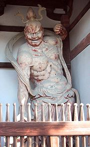 Gurdian Deity (Kongōrikishi) in Horyuji, clay and wood, 711