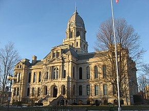 Kosciusko County Courthouse from southeast near sunset.jpg