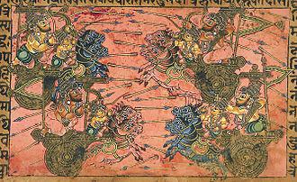 Shikhandi - Kripa fights with Shikhandi (top right)