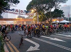 Cycling in Kuala Lumpur - KL Car-Free Morning at Jalan Raja Laut.