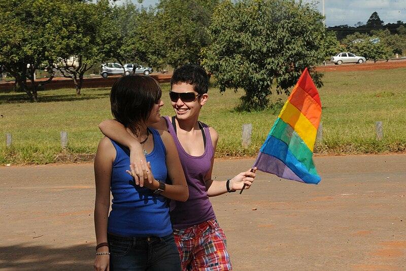 File:Lésbicas caminhando com bandeira lgbt.jpg