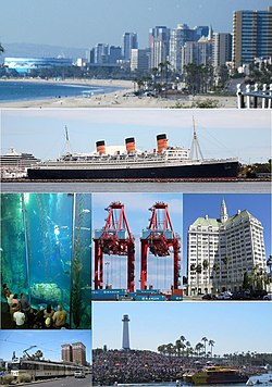 تصاویر از بالا، چپ به راست: Long Beach skyline from Bluff Park, RMS Queen Mary, Aquarium of the Pacific Blue Cavern exhibit, Hanjin Terminal at Port of Long Beach, Villa Riviera, Metro Blue Line, Long Beach Lighthouse