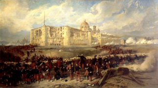 LE GENERAL BAZAINE ATTAQUE LE FORT DE SAN-XAVIER LORS DU SIEGE DE PUEBLA par Jean-Adolphe Beauce 29 March 1863.png