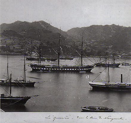 The French frigate Guerrière commanded by Admiral Roze was the lead ship in the French campaign against Korea. Here the ship is photographed in Nagasaki harbour around 1865.