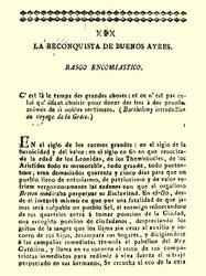 La Reconquista de Buenos Ayres. Rasgo encomiástico.