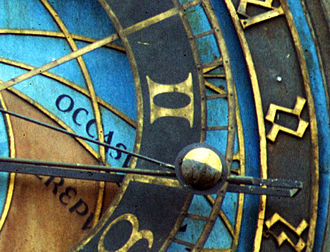 Prague astronomical clock - The moon sphere is seen showing approximately a half moon