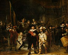 Rembrandt painting Night Watch two men striding forward with a crowd