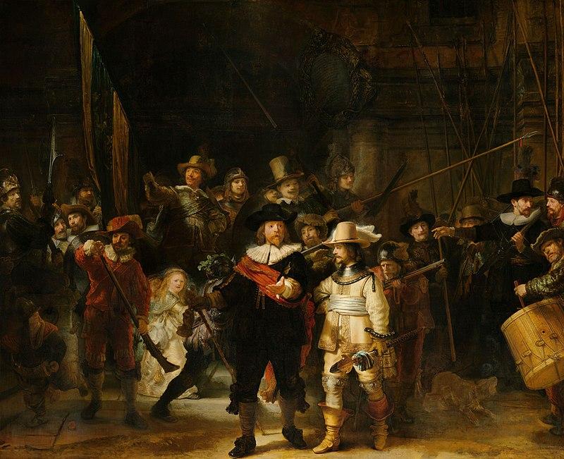 Rembrandt: La ronda de noche, también conocida como La milicia del capitán Frans Banning Cocq, 1642. Este cuadro sería seriamente dañado en 1975, al ser acuchillado por un desequilibrado.