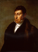 Marquis de Lafayette depicted in later years of his life, dressed according to the fashion of the 1820s.