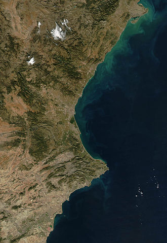 Valencian Community - Satellite picture of the Valencian Country; the dry area in the South is easily noticed. Original by NASA