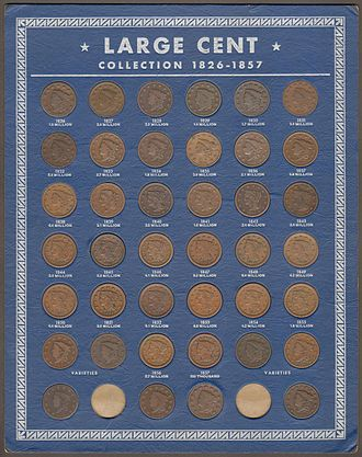 Coin board - Large Cent Board with Coins