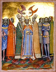 Two bishops and two angels put a crown on the head of a man who is surrounded by a group of people