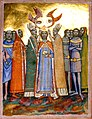 Two bishops and two angels put a crown on the head of a man who is surrounded by people.