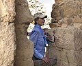 Laura Bush pauses during her tour of Masada National Park.jpg