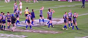 2009 Leeds Rhinos season - Leeds Rhinos leave the pitch victorious after progressing to the Superleague Grand Final.