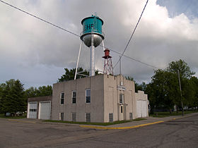 Lehr City Hall and Water Tower in Lehr, North Dakota 6-12-2008.jpg