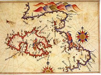 Ayvalık - Historic map of Ayvalık by Piri Reis.