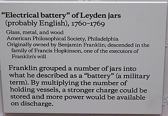 Franklin's electrostatic machine - Leyden jar battery at the Franklin Institute science museum and the associated museum label that is below it.