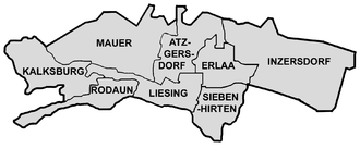 Liesing - Map of Liesing showing district parts.