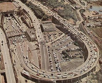 Lincoln Tunnel - View of New Jersey entrance in 1955, with the south tube under construction