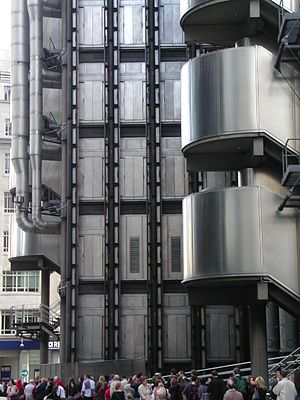 High-tech architecture - The Lloyd's building, completed 1986, London