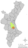 Localización de Puebla Larga en la Comunidad Valenciana