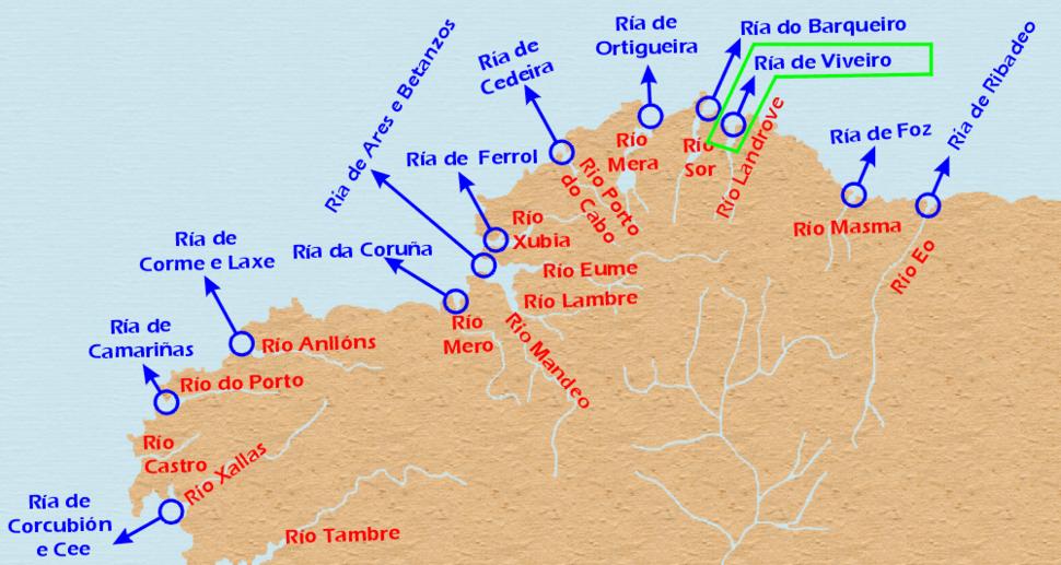Localizacion Ria de Viveiro.Galicia