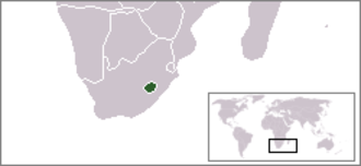 Enclave and exclave - Position of Lesotho within South Africa