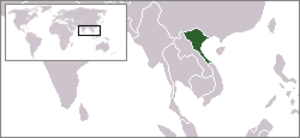 North Vietnam - Location of North Vietnam in Southeast Asia.
