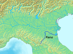 Location of the Reno River in Italy