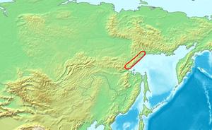 Okhotsk Coast - Siberian mountains: Dzhugdzhur Mountains highlighted.  West of the Dzhugdzhurs the country was flat all the way to the Urals.