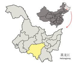 Location of Harbin City (yellow) in Heilongjiang (light grey) and China