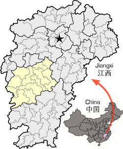 Location of Ji'an City jurisdiction in Jiangxi