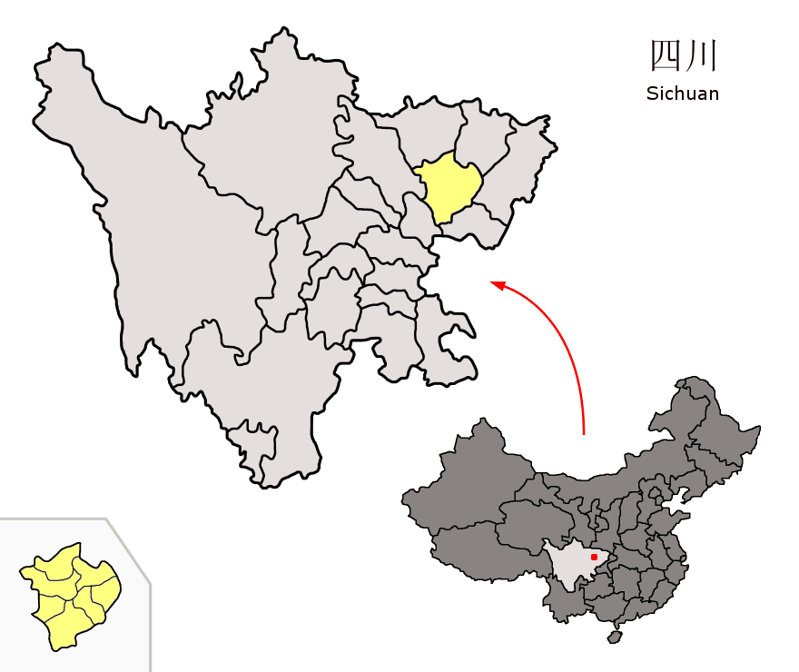 Location of Nanchong Prefecture within Sichuan (China)