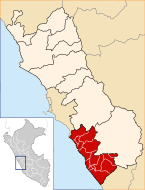 Location of the province Cañete in Lima.svg