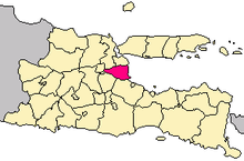 Locator map of East Java highlighting Sidoarjo