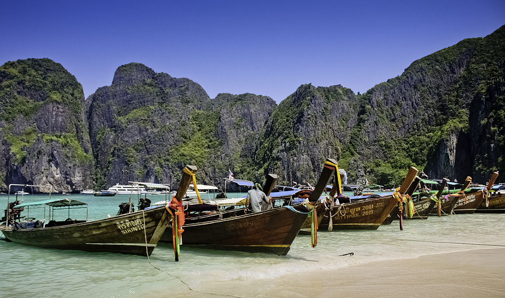 Longtail Boat At Maya Bay, Krabi, Thailand