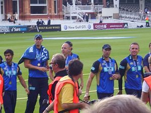 Nic Pothas - Pothas (second from right) with Hampshire team-mates, Lord's, 2009