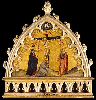 Lorenzo di Bicci - 'Crucifixion' painting by Lorenzo di Bicci, Museo della Collegiata di Sant'Andrea, c. 1399