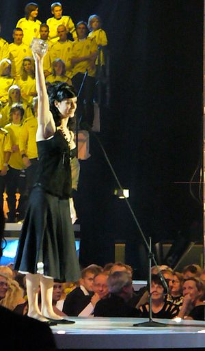 Diamantbollen - Lotta Schelin receiving the Diamantbollen of 2006