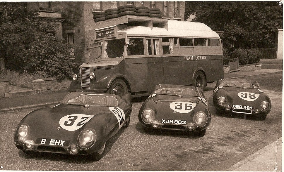 Lotus Cars and lorry for Le Mans 29.07.1956