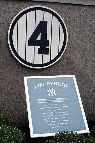 Uniform number (Major League Baseball) - Image: Lou Gehrig