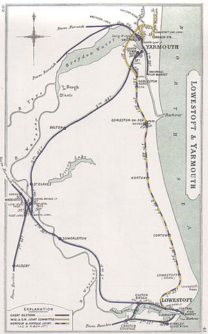 Norfolk and Suffolk Joint Railway - A 1912 Railway Clearing House map showing the coastal section of the Norfolk and Suffolk Joint Railway (in dotted blue/yellow) and connecting lines