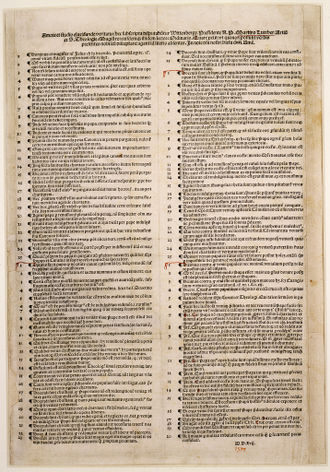 Ninety-five Theses - 1517 Nuremberg printing of the Ninety-five Theses as a placard, now in the Berlin State Library