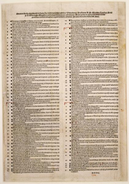 Las 95 tesis de Martín Lutero, documento impreso en Nuremberg en 1517, actualmente conservado en la Biblioteca Estatal de Berlín.