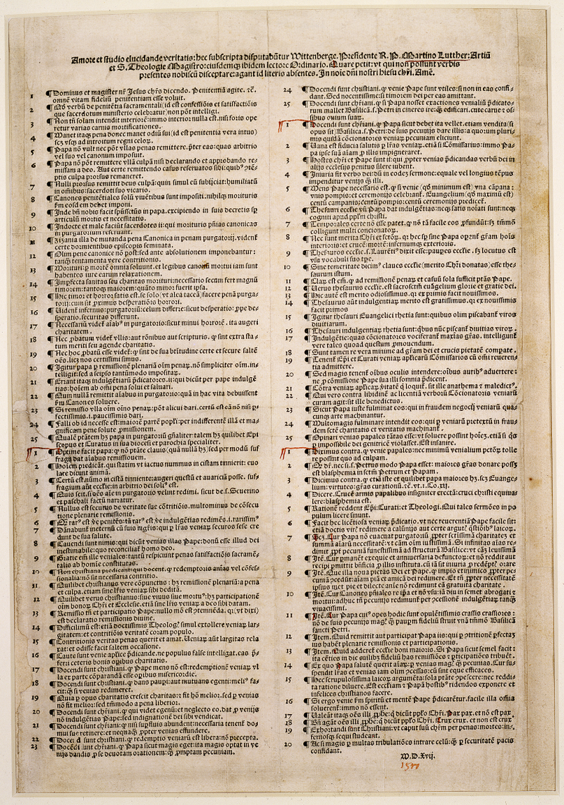 A single page printing of the Ninety-Five Theses in two columns