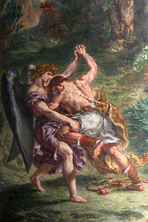 Atheology ; Jacob fighting the angel, by Delac...